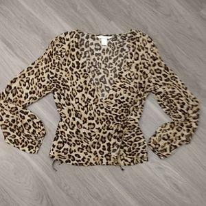 H&M Wrap Leopard Top EUC